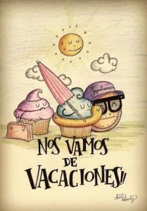Ilustración de dos magdalenas y una galleta con sombrilla y flotador